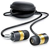 CSL - 630 Alu Auriculares / audífonos estéreos | in-ear superiores de aluminio de gama alta | Nueva serie 2016 | Transductor acústico de 10 mm | Resistente cable de aramida | Incluye funda redonda | negro / oro