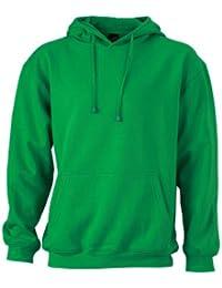 Kapuzenpullover Sweatshirt Mens Hooded - Jersey, color verde/blanco, talla L James & Nicholson