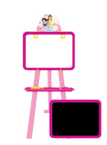 Disney Princess 5 in 1 double sided learning easel for kids/Height adjustable white & black board/Multifunctional writing board/ White board to draw/ chalk board to write/ activity sheets to develop skills/ mind development toys/ Multi color toys for kids (colors may vary from illustration)