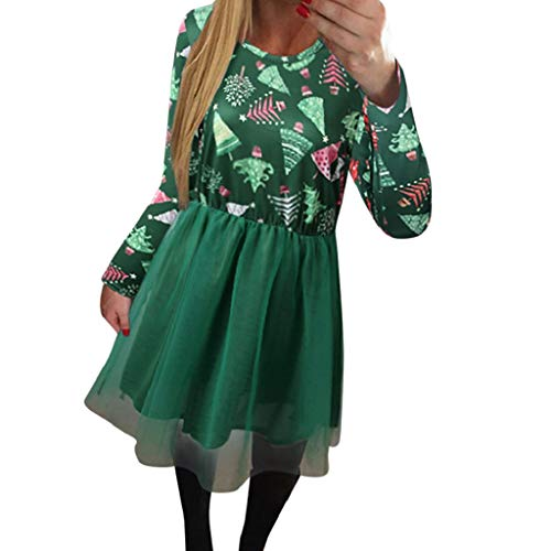 Luckycat Damen Weihnachtsweihnachtsdruck Maschen Kleid Langarms Hülsen Abend Party Kleid Abendkleider Cocktailkleid Partykleider Blusenkleid Mode 2018