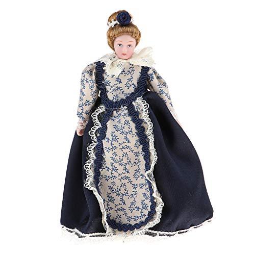 KESOTO 1:12 Puppenhaus Puppen - Schöne Viktorianische Damen Porzellan Puppe im Schwarze Kleid und Puppenständer