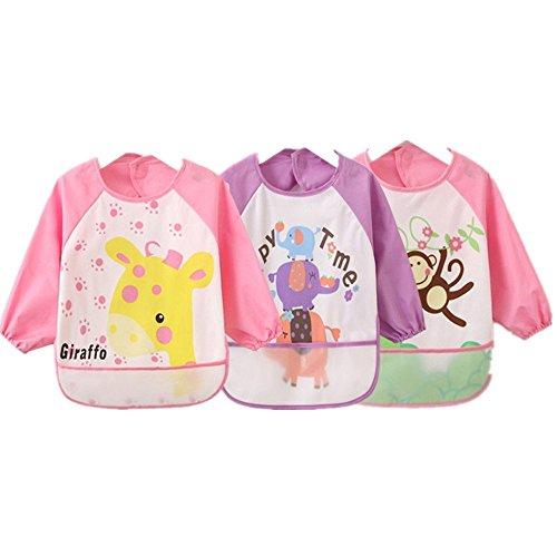 Oral-B Q Unisex bambini Childs in finta Craft Pittura Grembiule Baby-Bavaglino impermeabile con Sleeves & tasche, 6-36mesi, colore: rosa, Set da 3