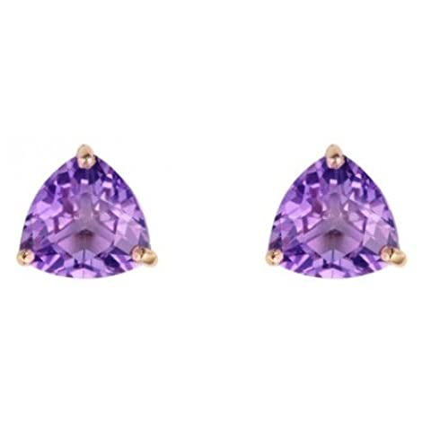 9ct Yellow Gold Amethyst Chequerboard Cut Trillion Stud