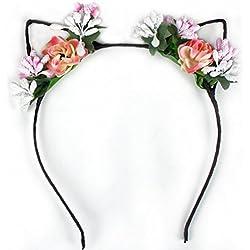 Kanggest 1 Piezas Diademas de Orejas de Gato Mujer flores Venda de Pelo Horquillas Pinzas Pelo Para Fiesta Accesorio el Pelo(Rosado)