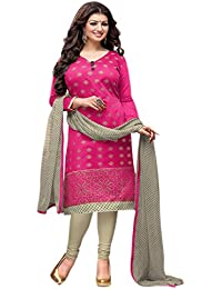 Regalia Ethnic Women's Cotton Dress Material (MFRE138_Free Size_Pink)