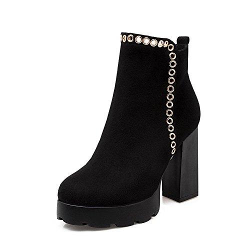 VogueZone009 Donna Alla Caviglia Tacco Alto Chiodato Stivali con Ornamento Di Metallo Nero