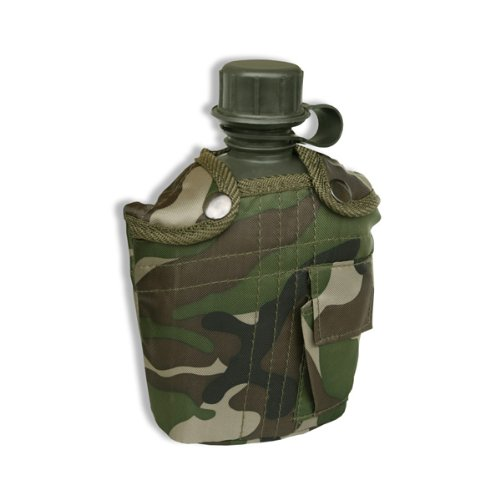 Gourde US Army - Capacité 1 Litre - Attache Alice + Etui fraîcheur - Coloris Woodland Camouflage - Randonnée - Airsoft - Paintball - Camping - Montagne - Ski - Outdoor