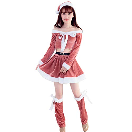 Xmiral Damen Weihnachtsfeier Cosplay Langarm Mit Kapuze Tänzerin Mini Sets für Rollenspiel Karneval Mottoparty(One ()
