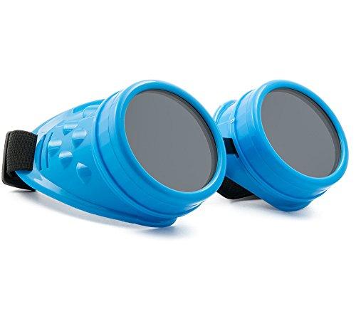 WELDING CYBER GOGGLES Schutzbrille Schweißen Goth Cosplay STEAMPUNK ANTIQUE VICTORIAN MFAZ Morefaz Ltd (Blue)