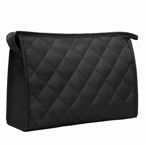 """SODIAL(R) Sac de stockage noir Design de """"losange"""" Utilis¨¦ comme sac de cosm¨¦tiques/cartes/porte-monnaie, etc Organisation des accessoires"""