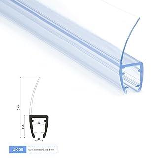 200cm UK05 - Ersatzdichtung für 6mm/8mm Glasdicke Wasserabweiser Duschdichtung Schwallschutz Duschkabine Duschprofil Duschtürdichtung