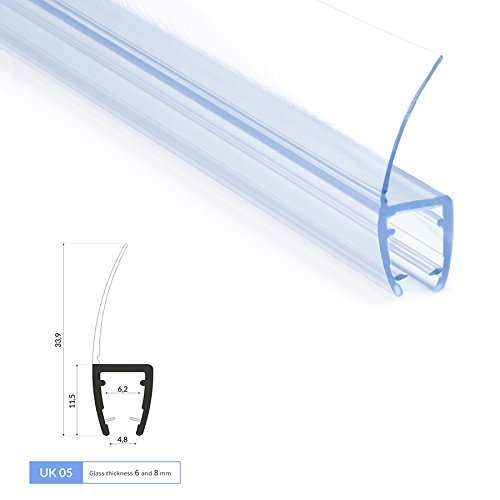 2m Joint de douche UK05 pour 6 et 8mm epaisseur d'ecrans