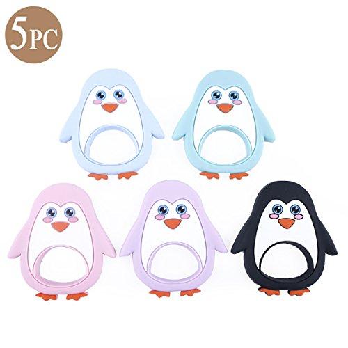 Mommy love baby Bébé Silicone Dentition Soins Infirmiers 5pc Pingouin de Dessin Animé Collier Pendentif Accessoires Cadeau de Douche Monterey Jouets Sensoriels