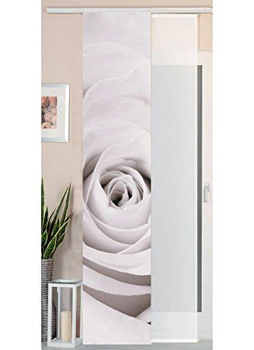 Gardinenbox Schiebegardine Flächenvorhang Wildseide Optik und Voile Paneel, Polyester, Rose, 245 x 45 cm, 2-Einheiten -