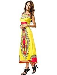 c0757d978 Vestido Casual para Mujer - Vestido Largo Sin Mangas con Estampado Floral  Tribal Africano Sin Mangas