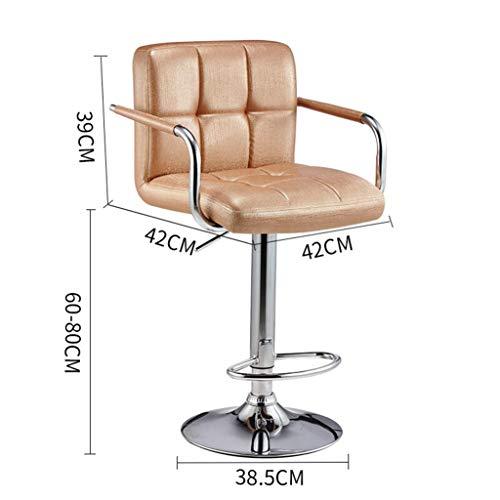 CWJ Praktischer Stuhl Barhocker mit Rückenlehne, Counter Height-Stuhl, Home Office-Stühle, Kunstleder-Außenseite, Verstellbarer Wirbel, Fußstütze aus Chrom Kreative Hocker,Gold - Chrom Verstellbare Hocker