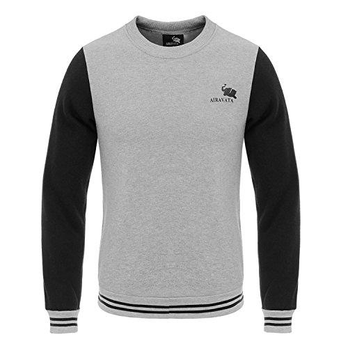 AIRAVATA Herren Kapuzenpullover Crewneck Fleece Winter Schwergewicht Slim Fit Sportkleidung Sweatshirt Grau