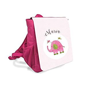Kinder-rucksack für Mädchen mit Namen u. Elefant