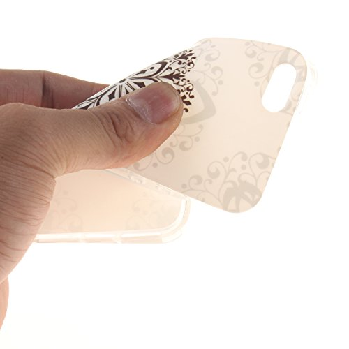 CaseHome iPhone SE/5S/5 TPU Silikongel Hülle Prämie Weich Ultra Dünnen TPU Abdeckung Stoßstange Gummi Mode Schönheit Muster Gedruckt Entwurf (Mit Frei Schirm-Schutz) Stoßfest Haut Schale Schutz Perfek Mandala-Blume
