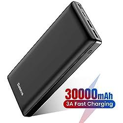 Batterie Externe 30000mAh Power Bank USB C Chargeur Rapide pour iPhone 11 Pro X XS 8 Plus, iPad, Mac, Charge Standard pour Samsung Galaxy S10 + S9 Note 10 +, Huawei - Noir