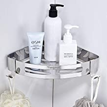 Yeegout Estanteria baño con 2 ganchos, Acero inoxidable Montado en la pared estante ducha para