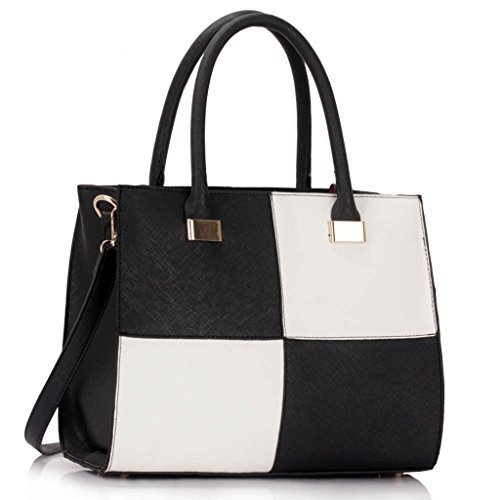 womens-check-print-designer-faux-leather-celebrity-style-tote-handbag