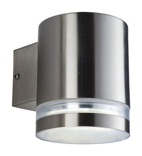 Firstlight Atlas Einzelne Wandleuchte aus Edelstahl Energiesparlampe GX53 IP44 1 x 9 Watt