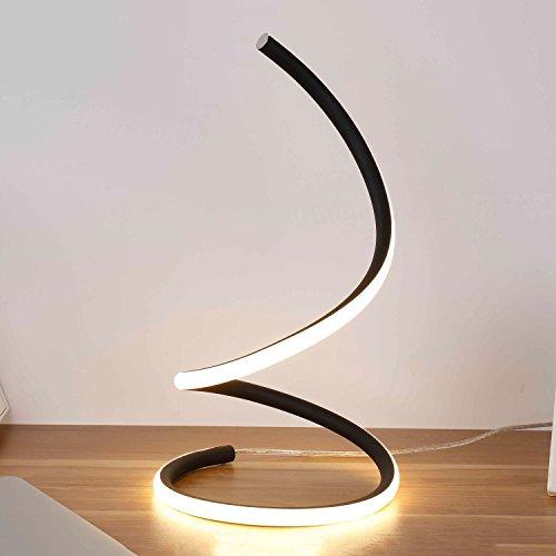 Aluminium Spirale LED Tischleuchte, Post-moderne dekorative Schreibtischleuchte, 3-farbiges Licht Dimmen, 15W, Kindertag Geschenk (Schwarz, Gold, Silber, Weiß) (Color : Black)
