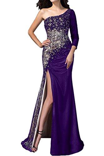Milano Bride Damen Sexy Etui Ein-Traeger Abendkleider Festkleider Spitzekleider Partykleider Violett