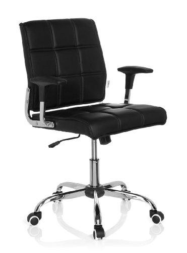 hjh OFFICE 719000 Bürostuhl Drehstuhl ERNESTO Kunstleder schwarz, Designklassiker, ideal für das Home Office oder Büro, Schreibtischstuhl ergonomisch, Büro Sessel, Drehstühle, Chefsessel
