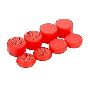 eXtremeRate 8PCS Silikon Gummi Präzision platporm erhöhte Analog Sticks Daumenauflage für Playstation 4PS4Slim PS4Pro Controller–Rot