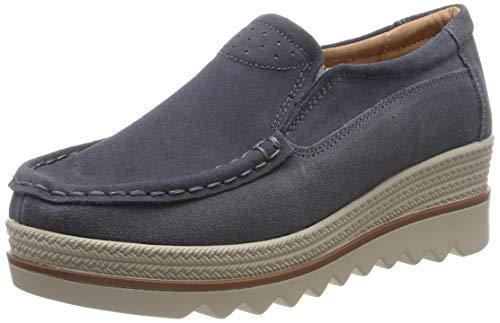 Mocassini donna in pelle scamosciata moda comode loafers scarpe da guida ginnastica estivi basse platform sneakers grigio 39