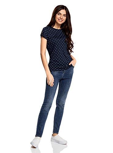 oodji Ultra Damen Gerades T-Shirt mit Schlitz auf Den Schultern Blau (7930D)