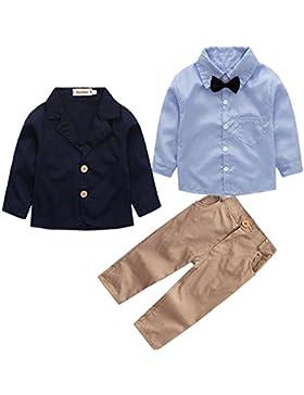 Conjunto de Tres Piezas para Bebé Niño Camisa de Manga Larga + Chaqueta + Pantalones Traje de Bautizo Fiesta Boda...