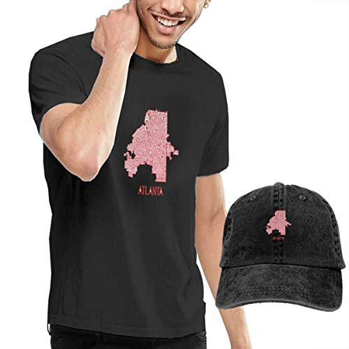 SOTTK Kurzarmshirt Herren, t-Shirts, Tee's, Atlanta Neighborhood Map Men's Classic T-Shirt with Washed Denim Baseball Hat Black (J Crew Denim-kleid)