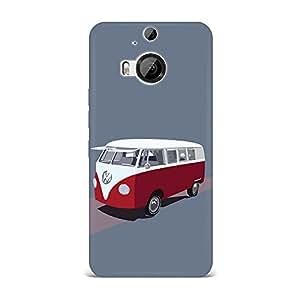 HTC M9 Plus Case, HTC M9 Plus Hard Protective SLIM Cover [Shock Resistant Hard Back Cover Case] for HTC M9 Plus -Volkswagen Type 2 Hippie Van Illustration