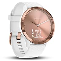Garmin vivomove HR Hybrid Smart Watch (Small/Medium) - Rose-Gold with White Band