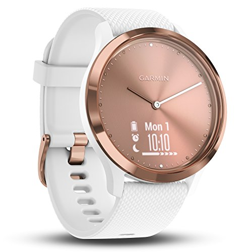 Garmin vivomove HR Hybrid Smart Watch (Small/Medium) – Rose-Gold with White Band