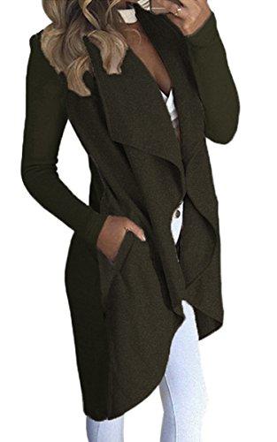 ECOWISH Damen Maxi Offene Cardigan Strickjacke Asymmetrisch Strickmantel Mantel mit Tasche Armeegrün M