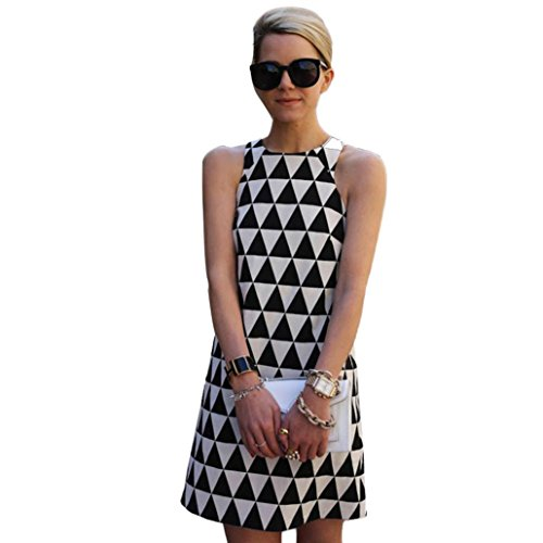 Beikoard vestito donna elegante abbigliamento vestito donna mini abito corto da donna casual estivo sexy senza maniche (nero, m)