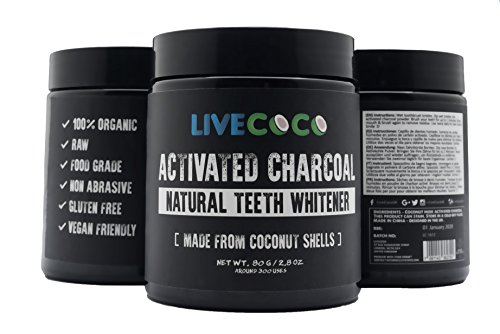LiveCoco Activated Charcoal for Teeth Whitening, Natural Teeth Whitening using Coconut Shells, RAW & Food Grade with No Artificial Flavours, 100% Natural, Large Tub, 80g=300 Uses