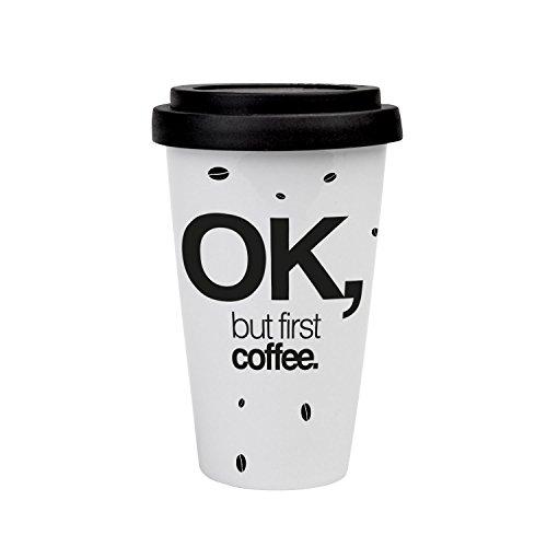 VISUAL STATEMENTS® hochwertige To-Go Kaffee mit Spruch/Verschiedene Motive und Designs/mit Deckel/Kaffeebecher/Teebecher/Mug/Cup/Qualitätsporzellan (OK BUT FIRST COFFEE)