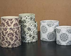 2er set bertopf blumentopf aus keramik grau wei amazon for Blumentopf keramik