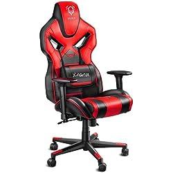 Diablo X-Fighter Gaming Chaise accoudoirs réglables 3D Coussin Lombaire mécanisme d'inclinaison Cuir Artificiel perforé (Noir/Rouge), Plastique