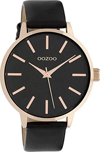 Oozoo Damenuhr mit Lederband 42 MM Rose/Schwarz/Schwarz C9754