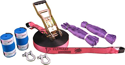 Elephant Slacklines Set Freak Flashline 15 m lang, 5 cm breit + Baumschutz