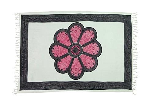 35 Modelle Sarong Pareo Wickelrock Strandtuch Tuch Wickeltuch Handtuch Original EL-Vertriebs GmbH Ciffe Tücher inklusive Schnalle Schließe aus Kokosnuss Wk2 Blume Pink Weiß M3