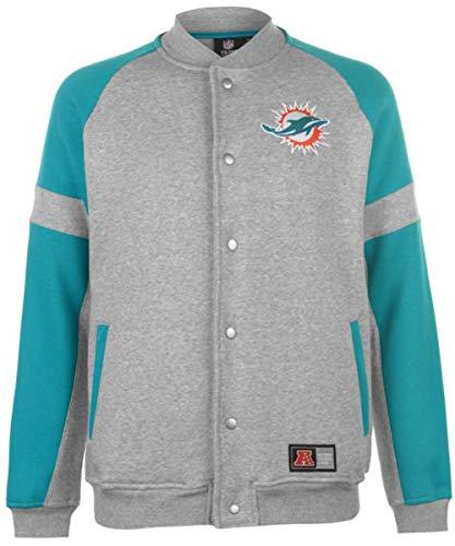 Majestic Miami Dolphins NFL Jeiter Fleece Letterman Jacke Gr. L, grau -