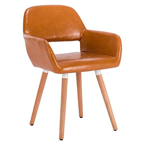 Woltu bh75br-1 sedia da sala pranzo poltroncina con schienale poltrona per cameretta salotto cucina ristorante pu gambe legno marrone