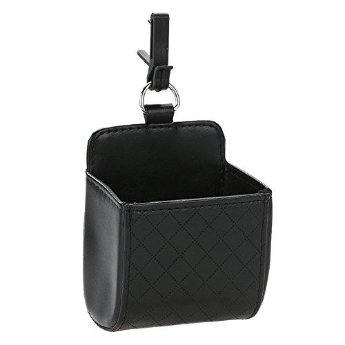 Schwarze Leder-handy-halter (Broadroot Auto Organizer Outlet Vent Mülleimer PU Leder Handy Halter Schutt Tasche schwarz)